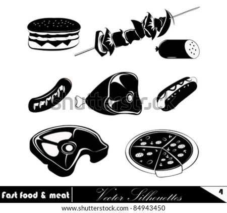 Fast Food Set.Vector Illustration Meat products icon set