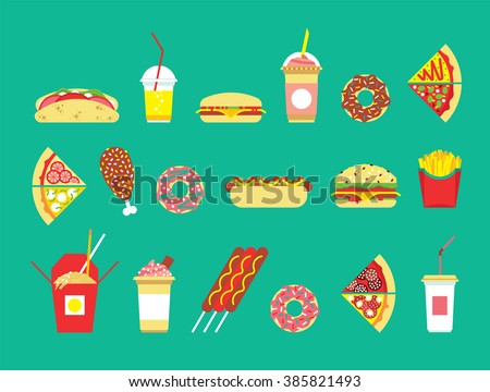 fast food set vector restaurant isolated flat icons snakes junk