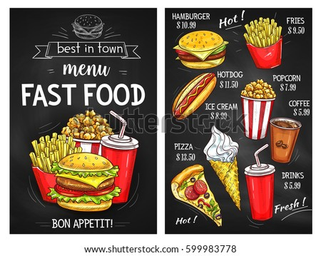 Fast food sketch menu. Price for pizza and burger sandwich, hot dog hamburger or cheeseburger and french fries. Vector desserts of ice cream, popcorn and coffee or soda drink for delivery or takeaway