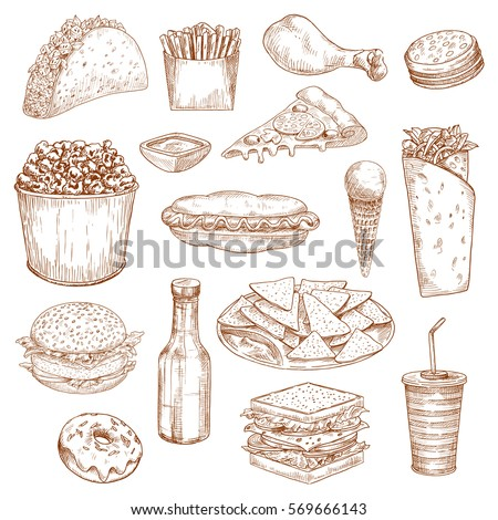 Vector Images Illustrations And Cliparts Fast Food Sketch Sandwich