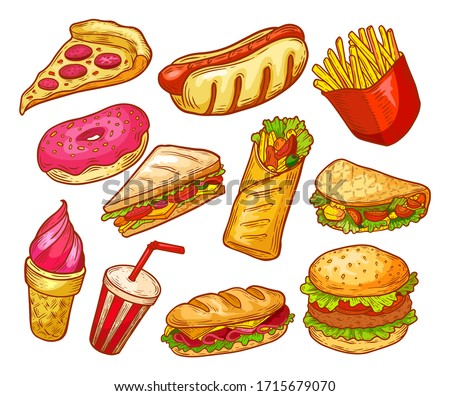 Fast food sketch, sandwiches, burgers, snacks and drinks, vector isolated icons. Fastfood menu elements, pizza, potato fries, cheeseburger, Mexican taco and hot dog, donut, ice cream dessert and soda Foto stock ©