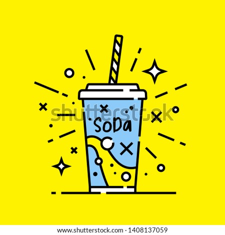 Fast food soft drink soda line icon on yellow background. Vector illustration.