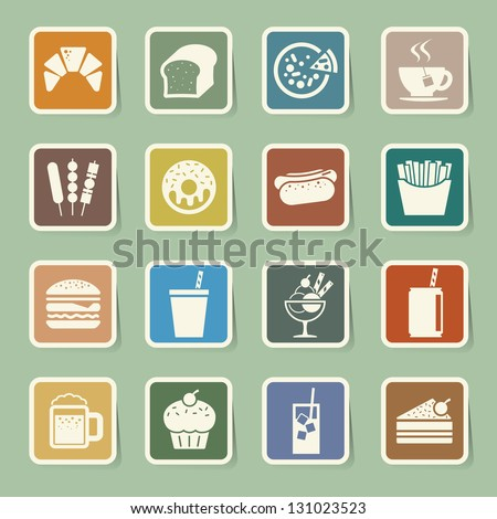 Fast Food sticker icon set.Illustration eps10
