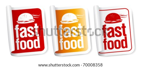 Fast Food stickers set. - stock vector