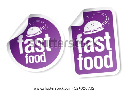 Fast Food stickers set in in space style.
