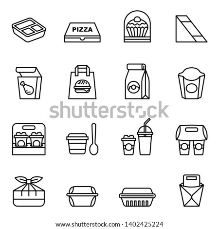 Fast food. Take away. Package icons for delivery. Thin line style stock vector. Foto d'archivio ©