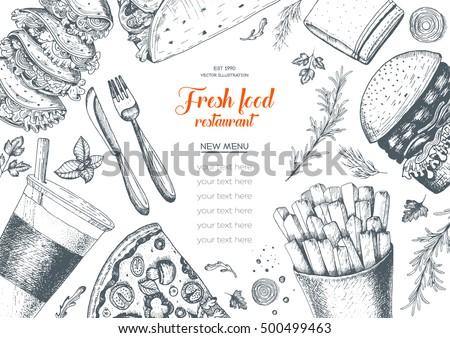 Fast food top view frame. Fast food menu banner, snack collection. Vintage vector illustration. Drawn in ink. Set of fast food, junk food.
