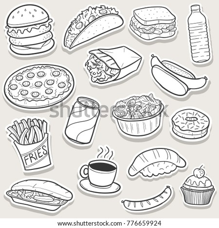 Fast Food Traditional Doodle Stic Icons Sketch Hand Made Design Vector