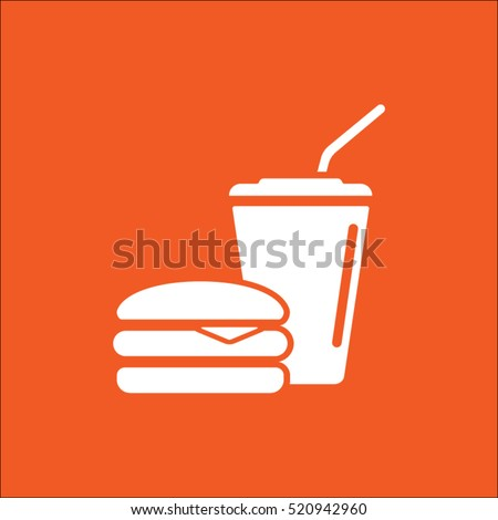 fast food vector icon, hamburger and drink