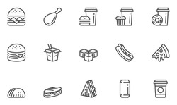 Fast Food Vector Line Icons Set. Street Food, Pizza, Taco, Sandwich, Noodle. Editable Stroke. 48x48 Pixel Perfect.