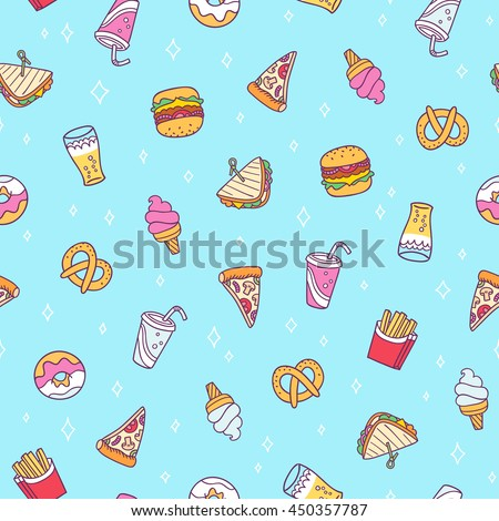 Fast food vector seamless pattern on blue background