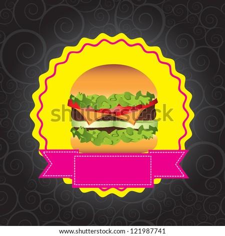 Fast food with burger over black background vector illustration