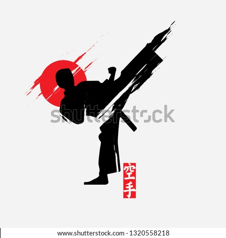 Fast kick fighting technique silhouette vector illustration. Modern and simple logo for karate,judo and martial art icon.    Foto stock ©