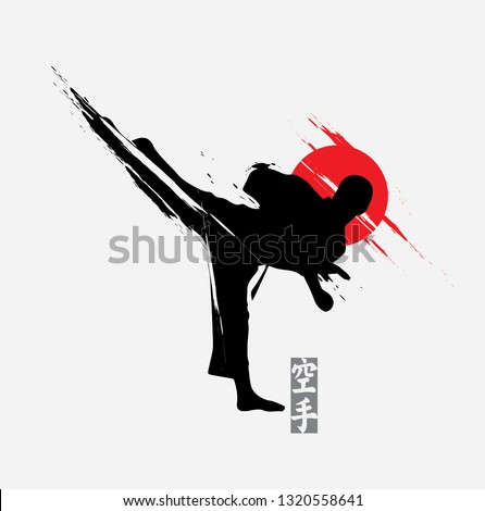 Fast kick fighting technique silhouette vector illustration.Simple and modern logo for karate,judo and martial art icon in japanese style. Foto stock ©