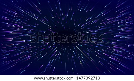 Fast movement hyper speed abstract vector background. Motion line power action. warp acceleration