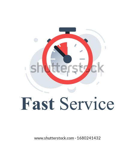 Fast or slow service, delivery delay concept, last minute stopwatch, limited time clock, deadline timer, last offer countdown, longer waiting period, vector icon