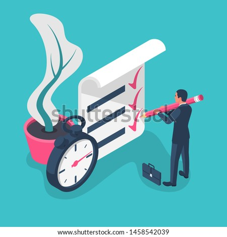 Fast service isometric icon. Businessman with big pencil puts the mark. Stopwatch with checklist and completed tasks. Vector illustration flat 3d design. Isolated on background. Successful people.  #1458542039