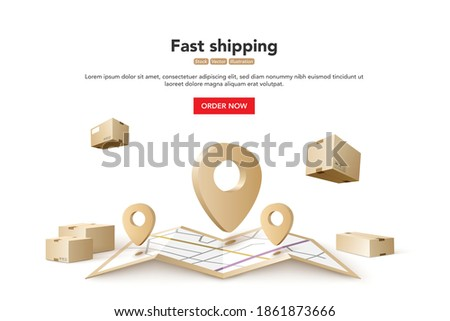 Fast shipping. Concept for fast delivery service. Vector illustration