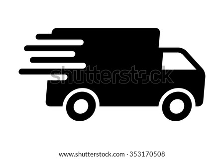 Fast shipping delivery truck flat icon for apps and websites