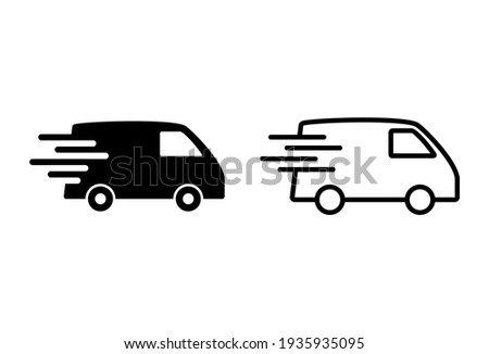 Fast shipping delivery truck icon set. Delivery truck icon. fast delivery icon