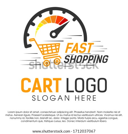 Fast shopping concept logo design template. Shopping cart vector illustration isolated on white background. Shopping cart in motion logo design. Shopping cart swoosh wind logo design. EPS file