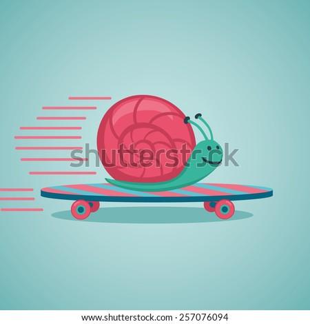 fast snail snail on a