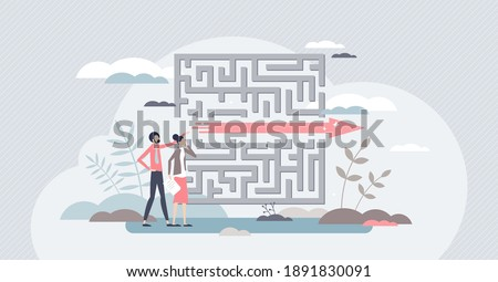 Fast solution as successful and effective problem overcome tiny person concept. Symbolic business strategy for distance shortcut as straight finish reach and easy path achievement vector illustration. Foto stock ©
