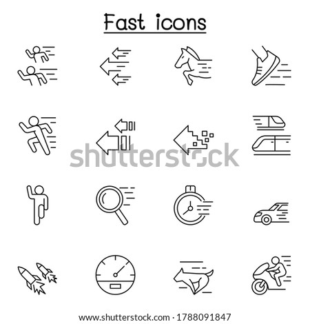 Fast & Speed related vector line icons. contains such Icons as running, racing, rocket, car, horse, internet and more.  Сток-фото ©