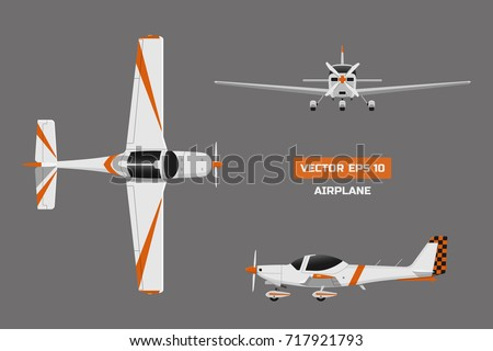 Fast sports airplane on gray background. View from above, front, side. Aircraft for training. Plane for flight academy. Vector illustration
