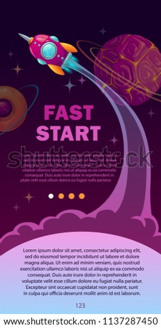 Fast start concept illustration. Space banner with rocket, planets and stars. Vertical flyer template.