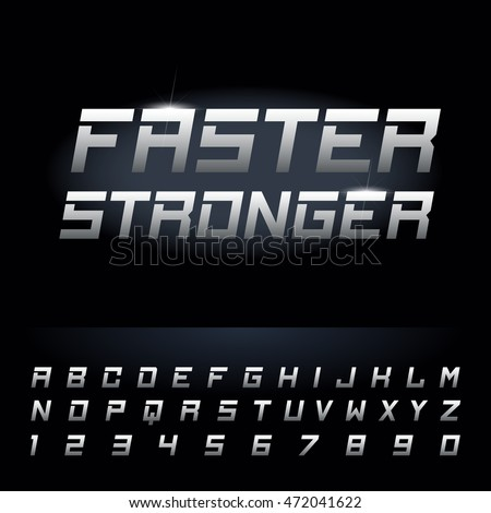 Fast strong futuristic alphabet lettering.Vector font. Capital letters and numbers. Great font for headlines, labels, quotes, titles, posters or logotypes. Latin alphabet letters.