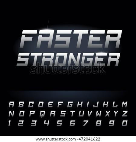 fast strong futuristic alphabet