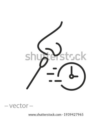 fast test coronavirus icon, quickly medical control, diagnosis virus covid19, laboratory analysis, thin line symbol on white background - editable stroke vector Stockfoto ©