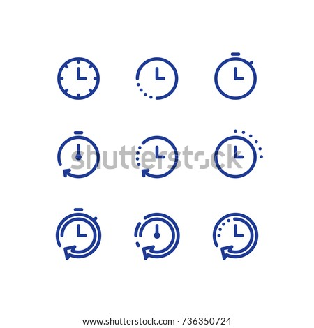 Fast time logo, stop watch symbol,  time period concept, working hours,  quick timely delivery, express and urgent services, deadline and delay, vector stroke icon set