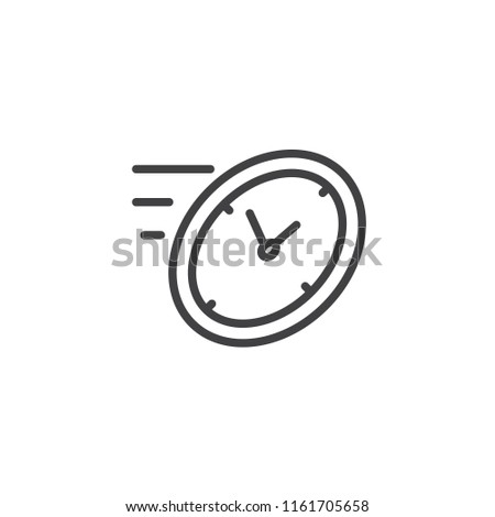 Fast time outline icon. linear style sign for mobile concept and web design. rush hour simple line vector icon. Clock symbol, logo illustration. Pixel perfect vector graphics