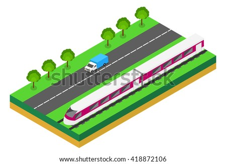 fast train near highway vector