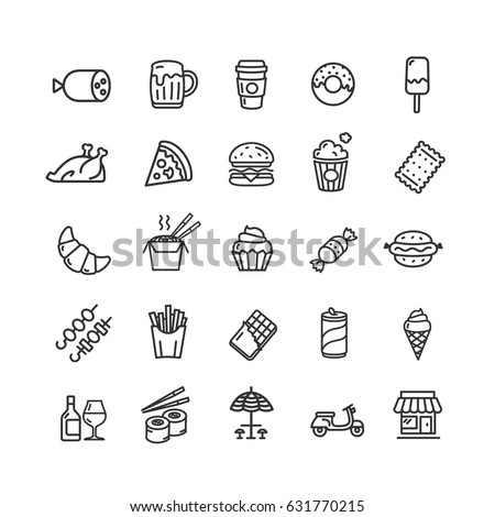 Fastfood and Street Food Black Thin Line Icon Set Elements Restaurant Menu for Web and App Design. Vector illustration