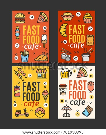 Fastfood and Street Food Flyer Banner Posters Card Template Set witch Color Outline Icons Marketing Concept Cafe. Vector illustration of four banners