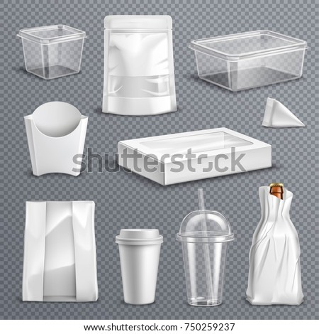 Fastfood empty blank packages realistic templates set with clear plastic coke mug and containers transparent background vector illustration