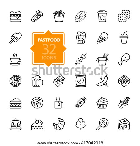Fastfood, Food court - outline web icon set, vector, thin line icons collection