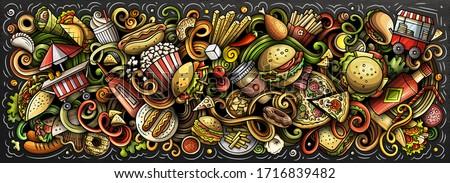 fastfood hand drawn cartoon