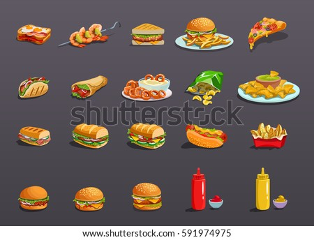 Fastfood Icons set. Art, Icon Image, logo, food Icon Sign, food Icon design, food icon app