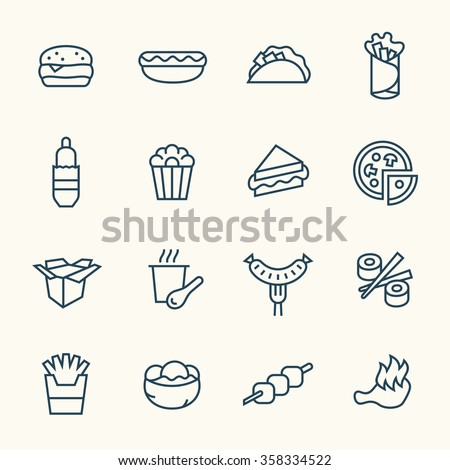 Fastfood line icon set