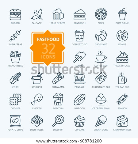 fastfood   outline web icon set