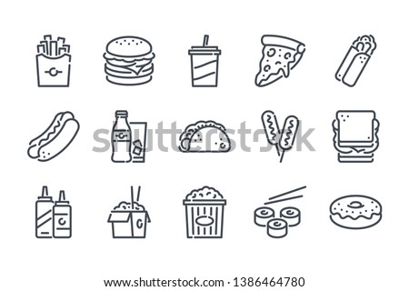 Fastfood related line icon set. Street food linear icons. Burger, hotdog and  sandwich outline vector signs and symbols collection.
