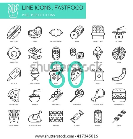 fastfood   thin line and pixel