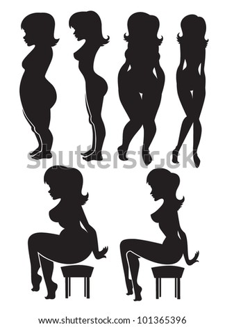 fat and slim, vector collection of diet silhouettes