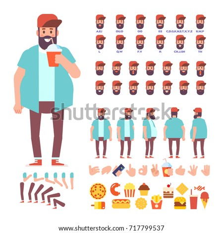 Fat bearded guy with cocktail for animation. Front, side, back, 3/4 view/. Separate parts of body. Constructor with various views, lip sync and gestures. Cartoon style, flat vector illustration.
