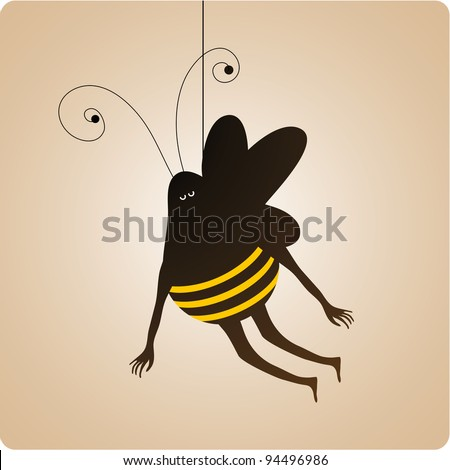 Fat bee with human hands and and legs hanging from a rope. Entertainment concept
