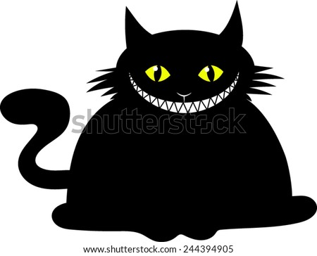 fat black cat   cartoon